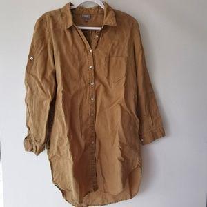 Linen oversized button down shirt tunic Dress m